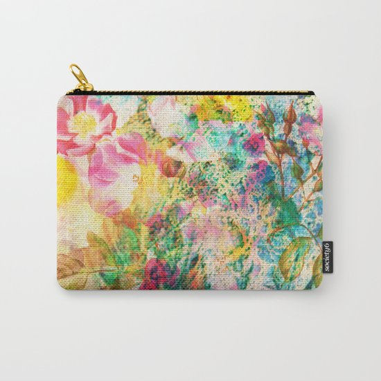 abstract with pink flowers Carry-All Pouch