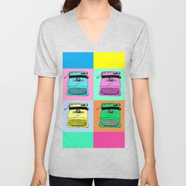 Let's warholize! Olivetti lettera22-style full of color Unisex V-Neck