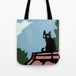 Outside Cat Contemplates Tote Bag