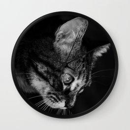 kitten in black and white Wall Clock
