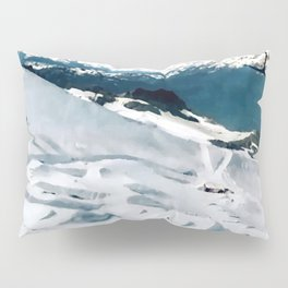 Snowy life on slope under T-bar lifts Pillow Sham