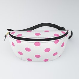 Extra Large Light Hot Pink Polka Dots on White Fanny Pack