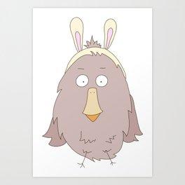 Cute little birdie wearing bunny ears Art Print