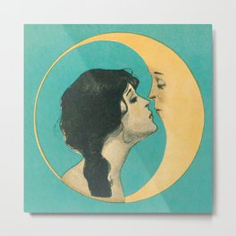 Vintage Woman Kissing the Moon Metal Print