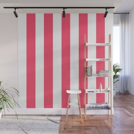 Infra red pink - solid color - white vertical lines pattern Wall Mural