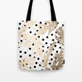 Simply Tropical White Gold Sands Palm Leaves on Dots Tote Bag