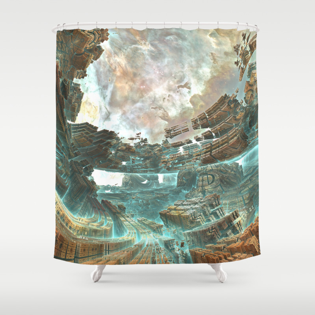 Fractals Shower Curtains Society - Brown and turquoise shower curtain