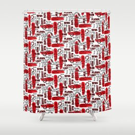 Gamer Lingo-White and Red Shower Curtain
