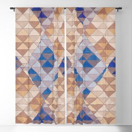 Triangle Pattern No. 13 Shifting Purple and Ochre Blackout Curtain