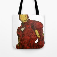 iron man Tote Bags featuring Iron Man by DeMoose_Art