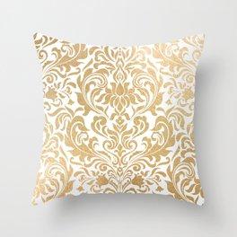 Gold foil swirls damask #12 Throw Pillow