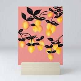 Yellow Lemon Branches, Pink Background Mini Art Print