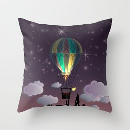 Balloon Aeronautics Night Throw Pillow