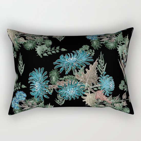 Blue chrysanthemums. Black . Watercolor . Rectangular Pillow