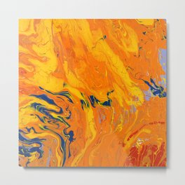 Orange Marble Metal Print