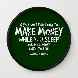Make Money Quote - Warren Buffett Wall Clock