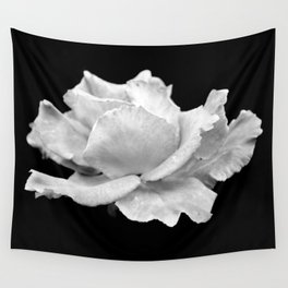 White Rose On Black Wall Tapestry