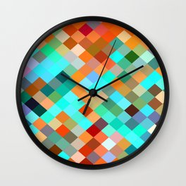 geometric square pixel pattern abstract in blue orange yellow brown green Wall Clock