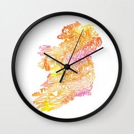Typographic Ireland - Orange Watercolor map Wall Clock