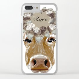 Cow with Love Hat Clear iPhone Case