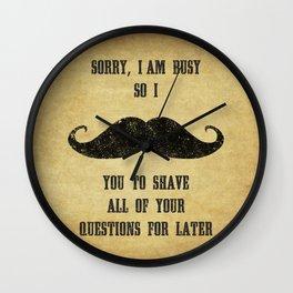 Moustache Questions Wall Clock