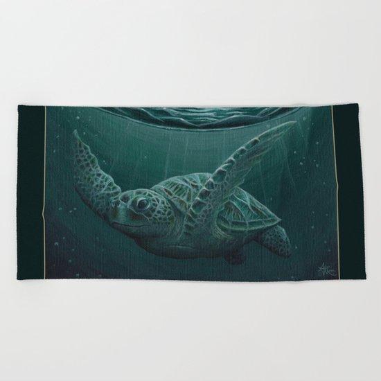 """Eclipse"" by Amber Marine - Sea Turtle, Acrylic Painting, (c) 2015 Beach Towel"
