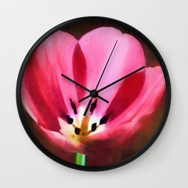 Painted Tulip Wall Clock