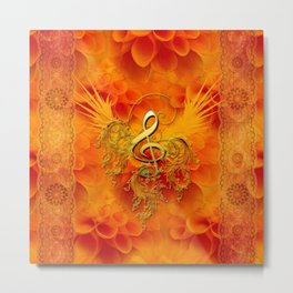 Clef with flowers Metal Print