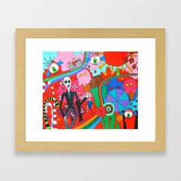 Slenderman in Candyland Framed Art Print