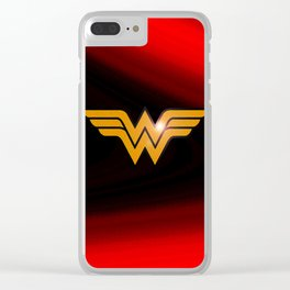 WonderWoman emblem insígnia Wonder, Red, Gold, Diana Prince, warrior princess of the Amazons Clear iPhone Case