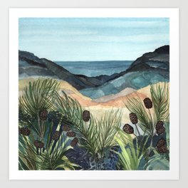 Coastal Blue Landscape Art Print