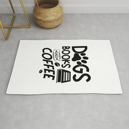 Dogs Books Coffee Typography Quote Saying Reading Bookworm Rug