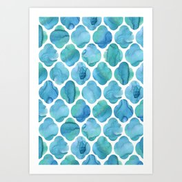 Watercolour Blue Moroccan Tile Print Art Print