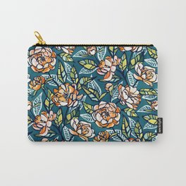 Chalk Pastel Peonies in Peach, Teal and Green Carry-All Pouch