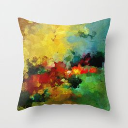 Colorful Landscape Abstract Art Print Throw Pillow