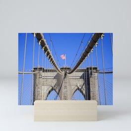 American Flag at the Brooklyn Bridge Mini Art Print