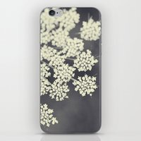 flower iPhone & iPod Skins featuring Black and White Queen Annes Lace by Erin Johnson
