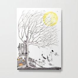 Harvest Moon Night - Illustration by: Taren S. Black Metal Print