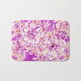 GOOD VIBES Wild Pink Watercolor Floral Bath Mat