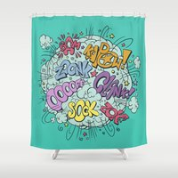 comic Shower Curtains featuring comic brawl by Peter Kramar
