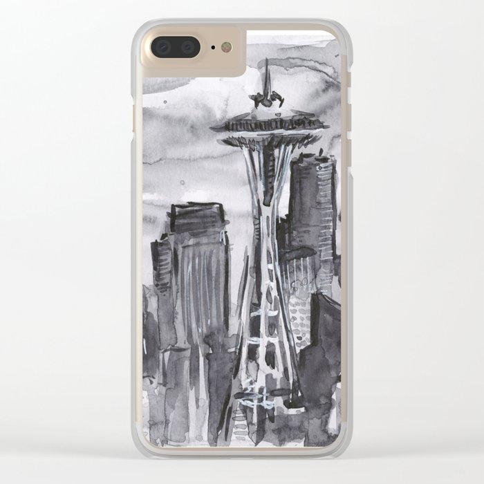 Seattle Skyline Watercolor Space Needle Washington PNW Clear iPhone Case