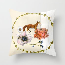 Fox in the Flowers - Flora & Fauna Throw Pillow