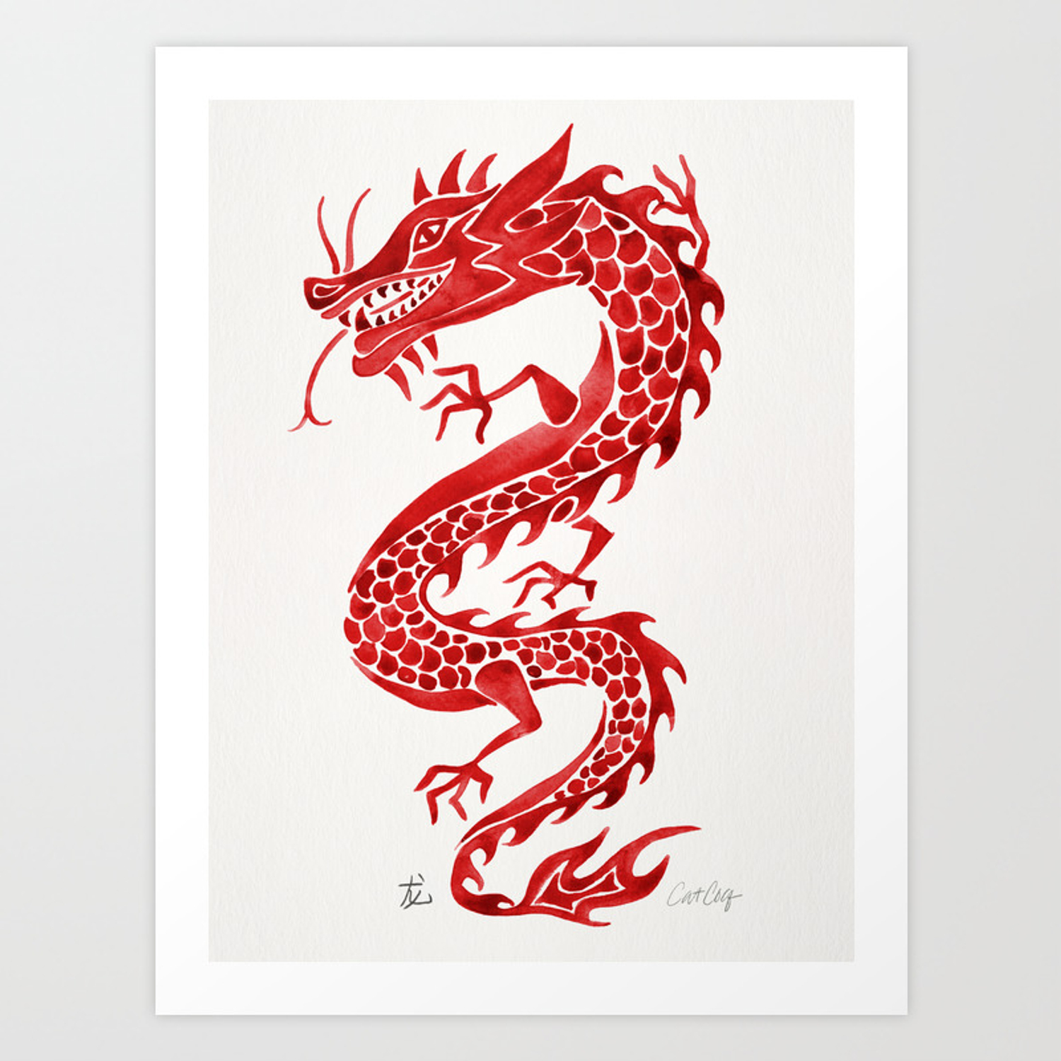 Chinese Dragon Crimson Palette Art Print By Catcoq Society6