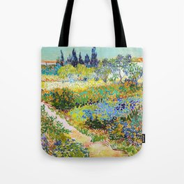 Garden At Arles, Flowering Garden With Path - Digital Remastered Edition Tote Bag