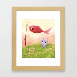 Cat and red fish Framed Art Print