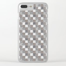 Rustic Charcoal Beige and Cream Patchwork Clear iPhone Case
