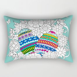 Easter ornamental eggs in the basket with flowers Rectangular Pillow