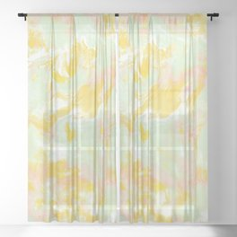 Marble Mist Yellow Green Pink Sheer Curtain