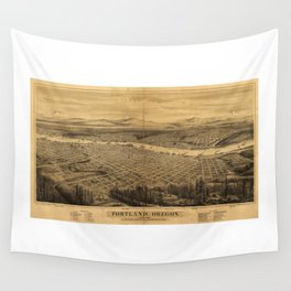 Aerial View of Portland, Oregon (1879) Wall Tapestry