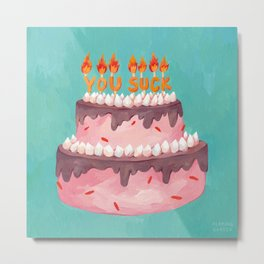 Birthday Card, Cake with Candles Metal Print